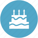 bakery food, birthday cake, cake, cake with candle, celebration, food icon