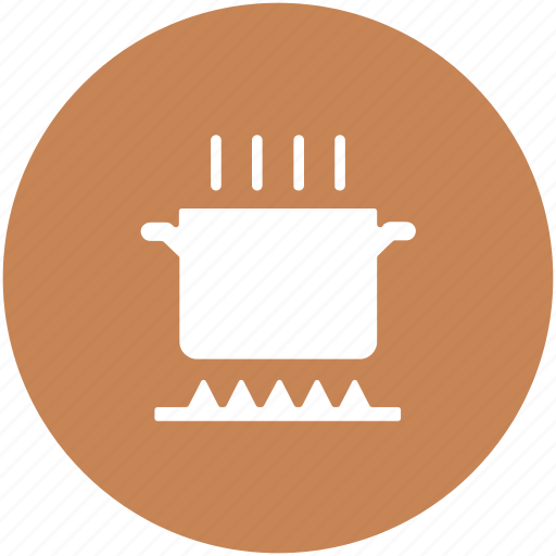 cooking, cooking pot, food on stove, hot food, kitchen, meal preparation icon