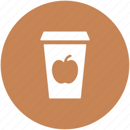 apple drink, apple jam, apple juice, beverage, canned juice, paper cup icon