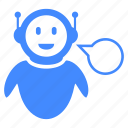 artificial, communication, help, intelligence, robot icon