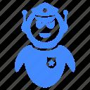 badge, cap, cop, detective, police, robot icon