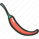 chilli, food, fresh, plant, red, veggie icon