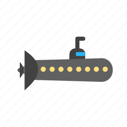 metal, ocean, ship, submarine, travel, weapon icon
