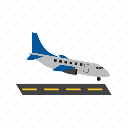 airplane, airport, fly, landing, plane, runway icon