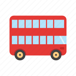 bus, double, red, transport, transportation, travel, vehicle icon