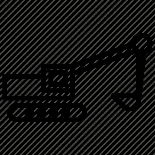 construction, excavator, transport, vehicle icon
