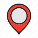 direction, location, map, pin, round, venue icon