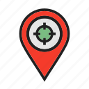 compass, location, map, pin, target, venue icon