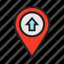 forward, location icon, map locator, move, pin map