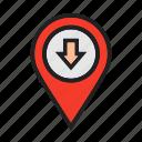 down, location icon, map locator, move, pin map