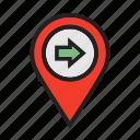 gps, location, map, move, pin, right, venue