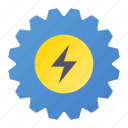 cogwheel, energy, flash, process icon