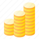 coins, finance, gold, money icon