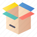 box, open, package, product icon