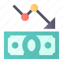 analytics, fall, money, rate icon
