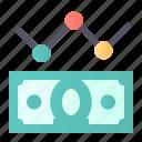 analytics, money, rate, stagnation icon