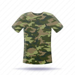 camouflage, shirt, t-shirt icon