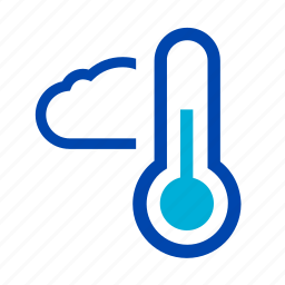 cloudy, cold, partly, rain, storm, thermometer, weather icon