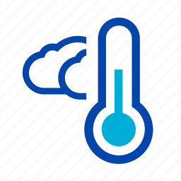 clouds, cloudy, cold, rain, shower, storm, thermometer icon