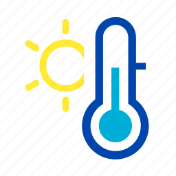 mild, spring, summer, sun, temperature, thermometer, warm icon