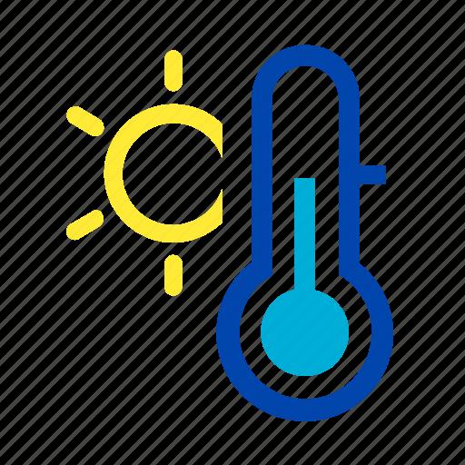 mild, spring, summer, sun, temperature, thermometer, warm icon