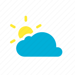 cloud, cloudy, partly, rain, sun, sunny, weather icon