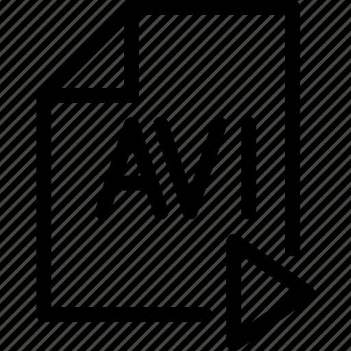 audio, avi, doc, line-icon, play, video icon