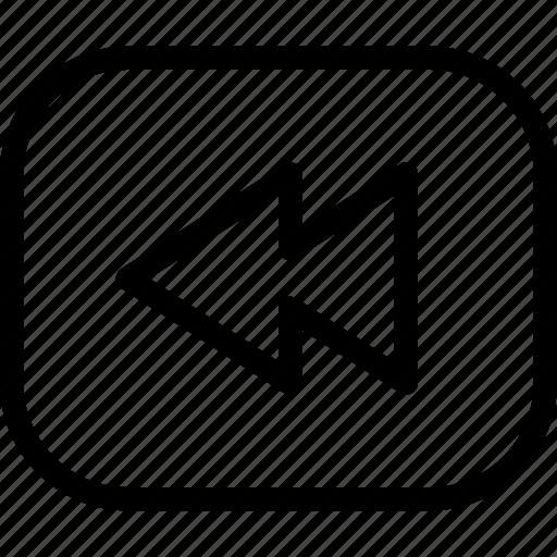 backward, control, line-icon, player, rewind, video icon
