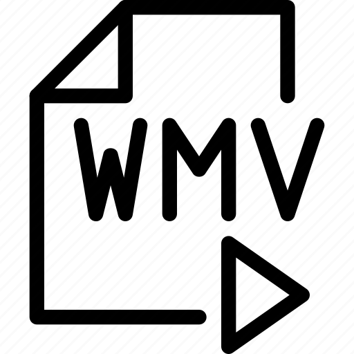 doc, document, file, line-icon, video, wma icon