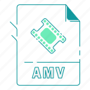 amv, extension, file type, format, type, video, video format icon