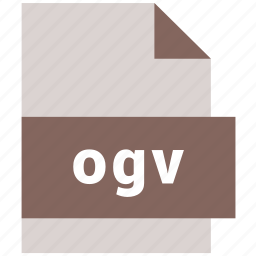extension, file, format, hovytech, ogv, video, video file format icon