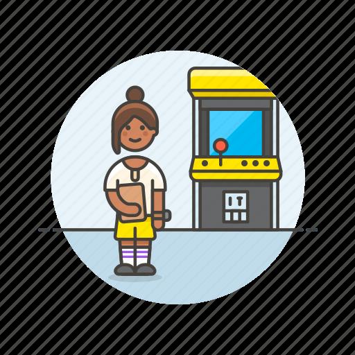 arcade, fun, game, machine, play, video, woman icon