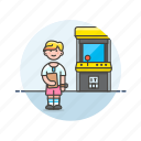arcade, fun, game, machine, play, video, woman icon