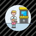 arcade, game, video, fun, play, machine, woman