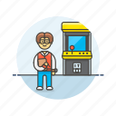 arcade, fun, game, machine, man, play, video icon
