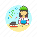 console, famicom, fun, game, play, video, woman icon