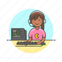 computer, fun, game, monitor, pc, play, video, woman icon