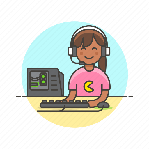 computer, fun, game, monitor, pc, play, video, woman icon