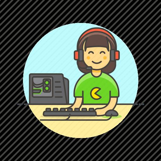 fun, game, keyboard, monitor, pc, play, video, woman icon