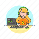 computer, fun, game, keyboard, pc, play, video, woman icon