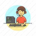 computer, fun, gamer, keyboard, man, pc, play, video icon