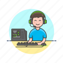 computer, fun, game, keyboard, man, pc, play, video icon