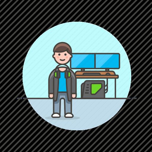 computer, fun, game, man, monitor, play, video icon