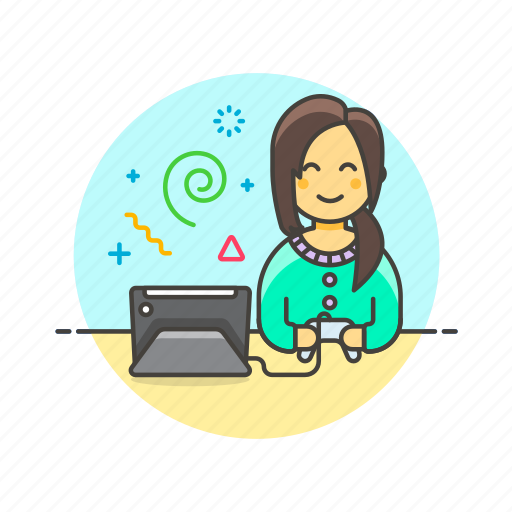 console, controller, fun, game, play, tablet, video, woman icon