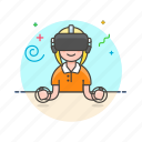 fun, game, play, reality, video, virtual, woman icon