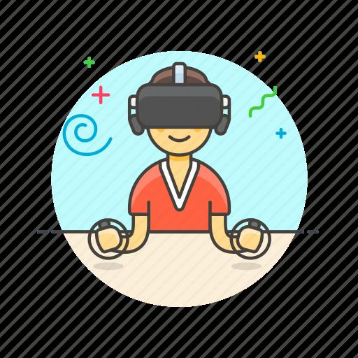 fun, game, man, play, reality, video, virtual icon
