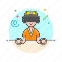 fun, game, man, play, reality, video, virtual icon