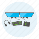 desk, equipment, fun, game, multiplayer, play, video icon