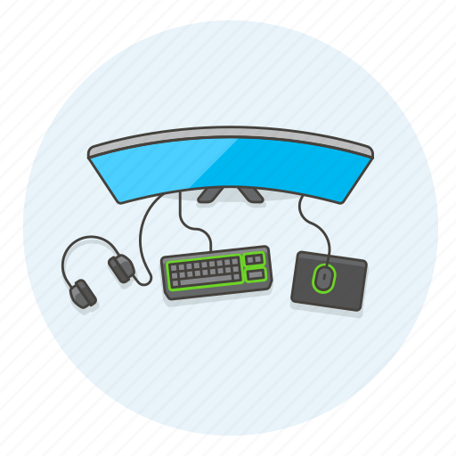 desk, equipment, fun, game, monitor, pc, play, video icon