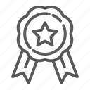 award, badge, best, emblem, medal, quality, ribbon icon
